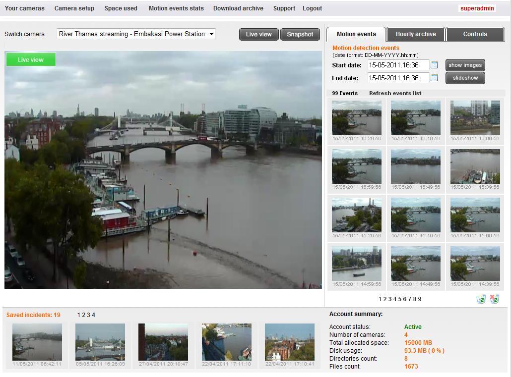 Remote alert online camera hosting application for video for Live camera website